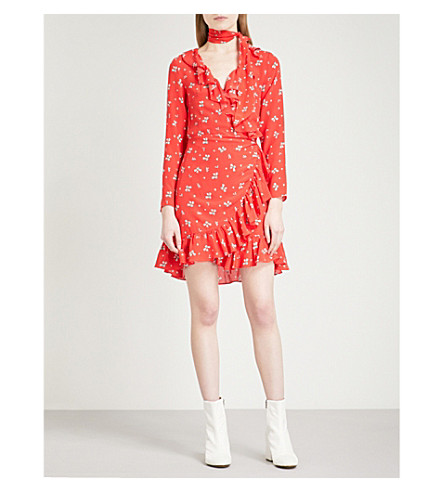 RIXO Gemma V-neck fit-and-flare silk wrap dress (Red+ditsy+thorn