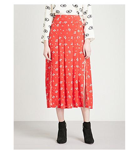 RIXO Georgia high-rise pleated silk skirt (Red+ditsy+thorn