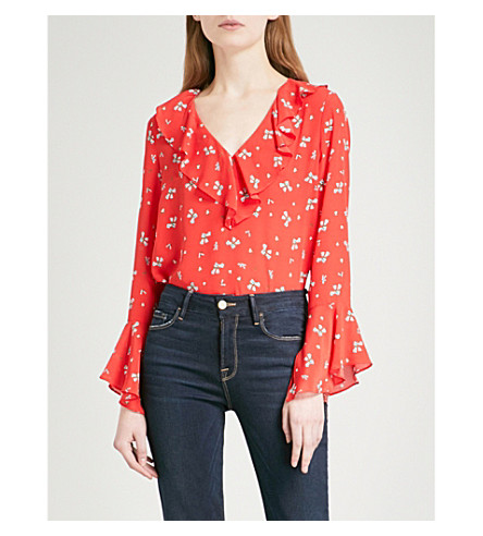 RIXO Jane V-neck silk blouse (Red+ditsy+thorn