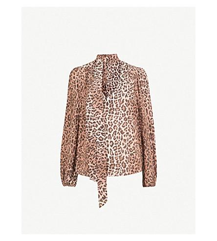 RIXO Jane neck-tie silk-crepe blouse (Leopard