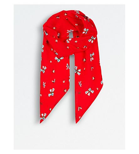 RIXO Ditsy silk scarf (Multi