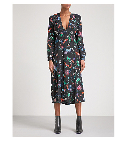 RIXO Camellia V-neck silk midi dress (Space+age+floral
