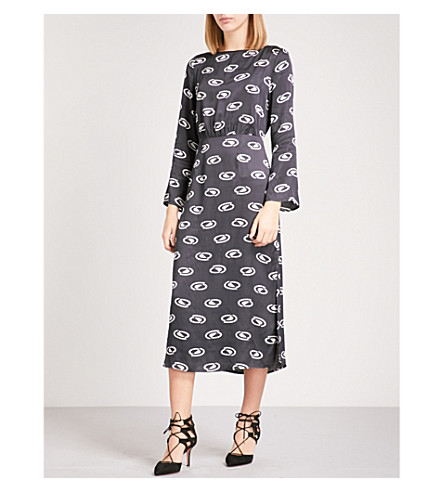 RIXO Sheena satin dress (Space+age+-+blk/crm