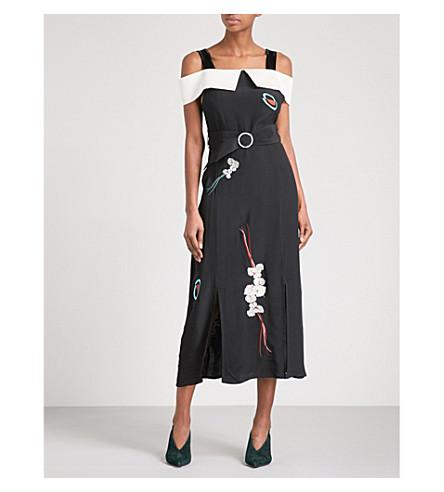 RIXO Chloe cold-shoulder crepe midi dress (Black+with+embroidery