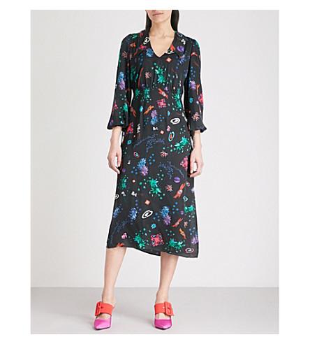 RIXO Faith V-neck satin midi dress (Space+age+floral