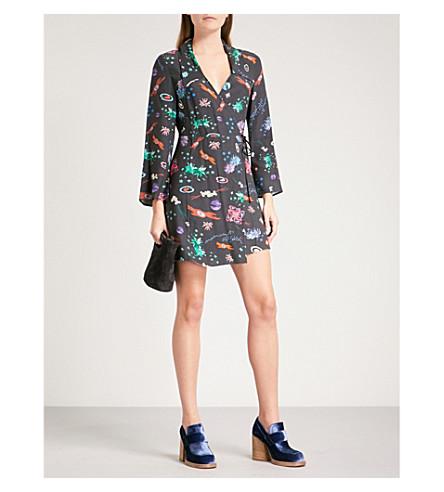 RIXO Eliza V-neck woven mini dress (Space+age+floral