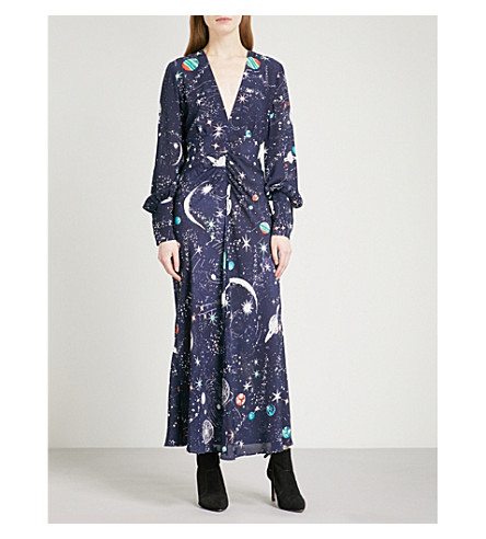 RIXO Maressa V-neck silk crepe de chine midi dress (Cosmic+navy