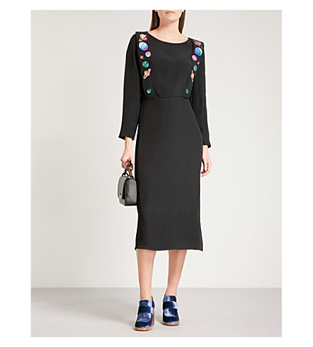 RIXO Elizabeth embroidered woven midi dress (Black+with+embroidery