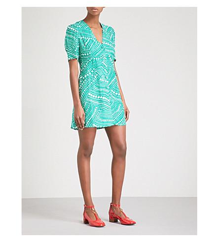 RIXO Laura V-neck satin mini dress (Green+phschadelic+spot