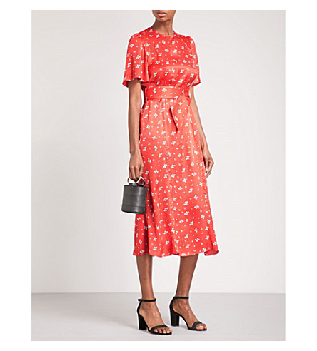 RIXO Joanne satin midi dress (Red+ditsy+thorn