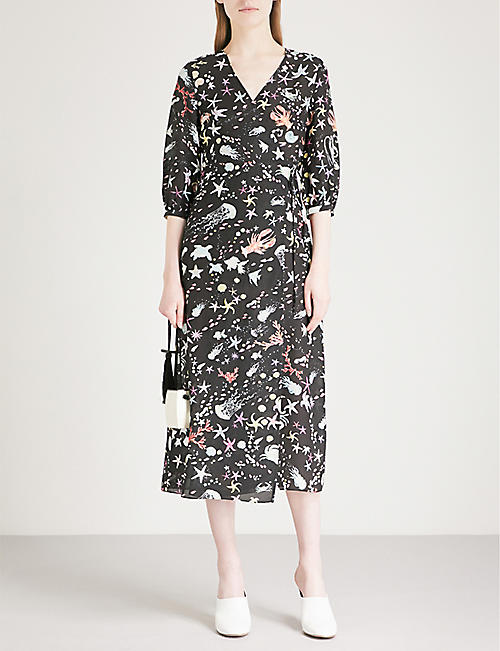 RIXO Phoebe wrap print silk-crepe dress