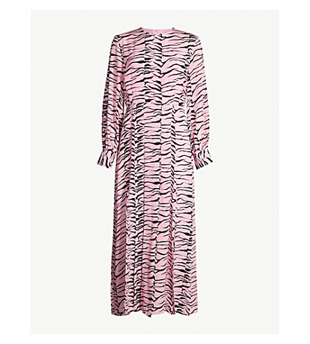 RIXO Emma flared tiger-print silk dress (Pinkblktgr