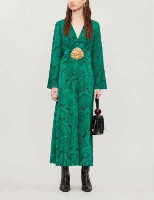 Indra embellished shell-print silk midi dress