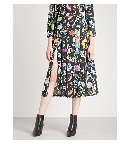 RIXO Georgia high-rise silk skirt (Porcelain+oriental+print