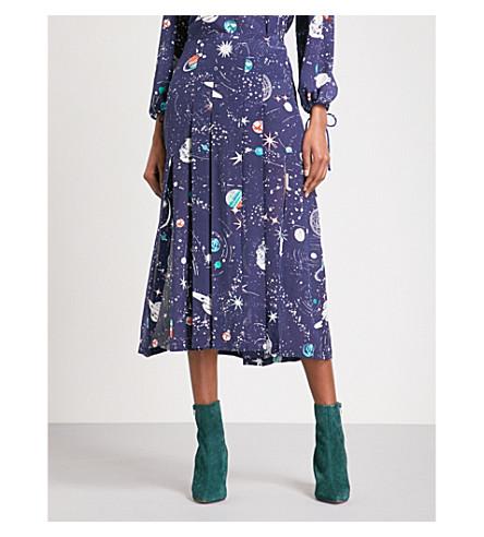 RIXO Georgia pleated silk midi skirt (Cosmic+navy