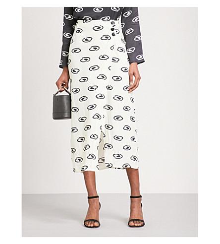 RIXO Suzi crepe wrap skirt (Space+age+-+blk/crm