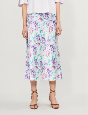 Kelly floral-print silk midi skirt