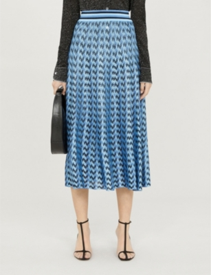 Brandy striped-trim houndstooth woven midi skirt