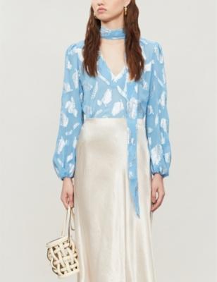 Moss jacquard leaves-pattern stretch-silk blouse