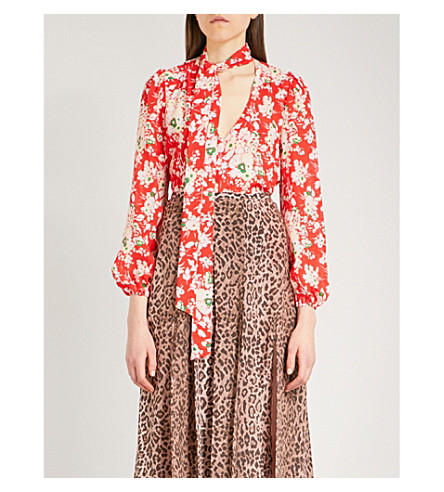 RIXO Moss silk-crepe blouse (30s+bunch+floral+-+red