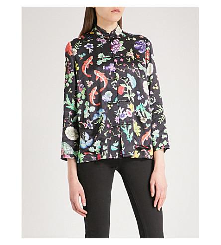 RIXO Shen band-collar satin shirt (Porcelain+oriental+print