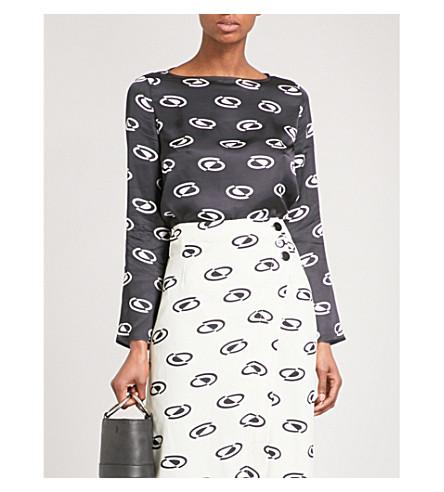 RIXO Scarlett boat-neck satin blouse (Space+age+-+blk/crm