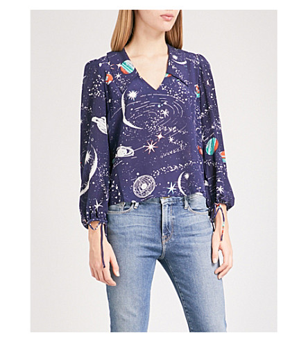 RIXO Lyla V-neck silk blouse (Cosmic+navy