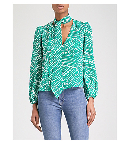 RIXO Kate neck-tie silk-crepe de chine blouse (Green+phschadelic+spot
