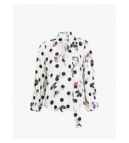 RIXO Moss V-neck woven top (Maxi+spot