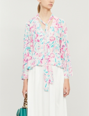 Kim floral-print chiffon top