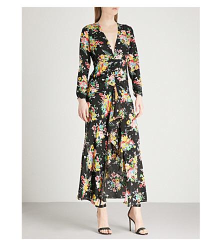 RIXO Rose V-neck silk-crepe midi dress (Multi
