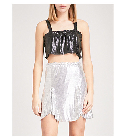 POSTER GIRL Aquila metal-mesh cropped top (Jet+black