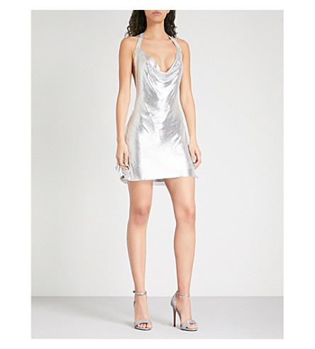POSTER GIRL Lyra halterneck metal-mesh mini dress (Chrome silver