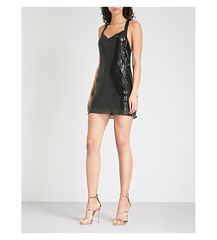 POSTER GIRL Portia metal-mesh mini dress (Jet+black