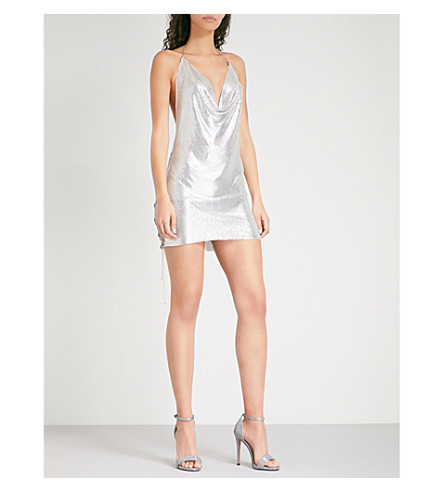 POSTER GIRL Zeina metal-mesh mini dress (Chrome silver