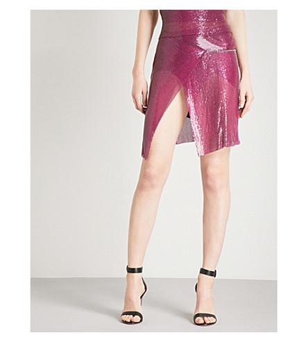 POSTER GIRL Winona metal-mesh wrap skirt (Cherry+red