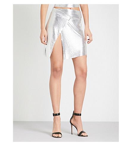 POSTER GIRL Winona metal-mesh wrap skirt (Chrome+silver