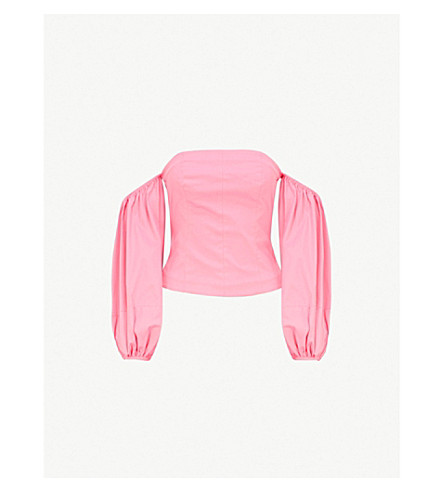 STAUD Emma off-the-shoulder stretch-cotton top (Pink