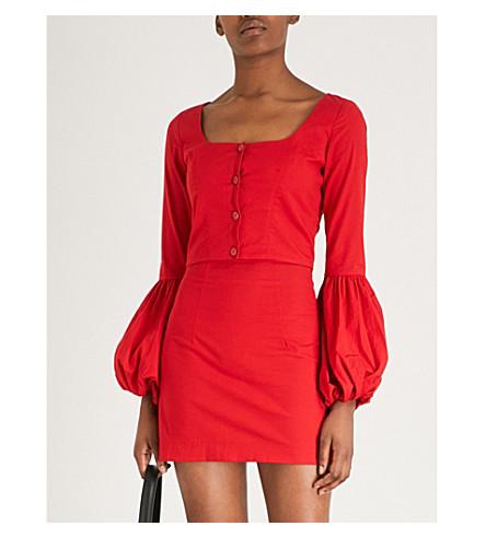 STAUD Monica stretch-cotton top (Red