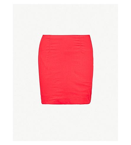 STAUD Panda high-rise cotton mini skirt (Red