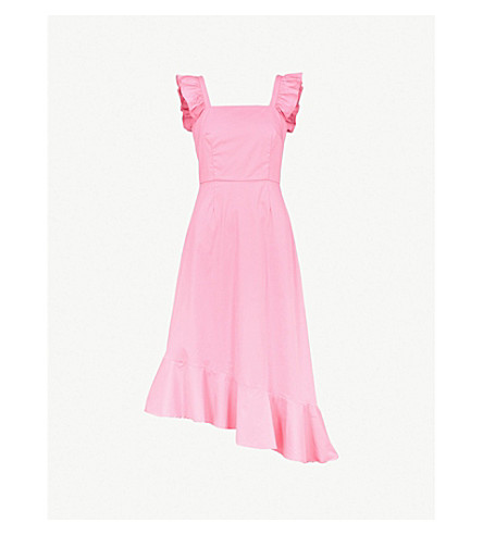 STAUD Valentina ruffled stretch-cotton dress (Pink