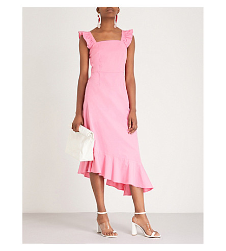 STAUD Valentina ruffled stretch-cotton dress (Pink