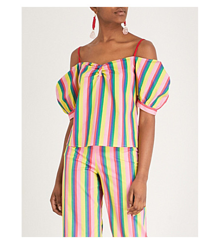 STAUD Ruby striped stretch-cotton top (Pink stripe