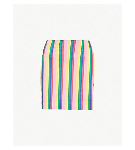 STAUD Panda striped stretch-cotton skirt (Pink stripe