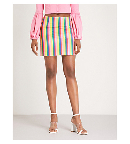 STAUD Panda striped stretch-cotton skirt (Pink stripe