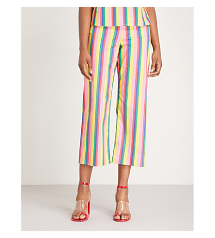 STAUD Maui cropped stretch-cotton trousers (Pink stripe