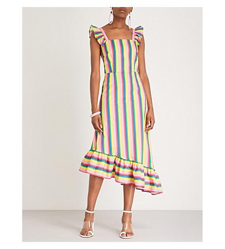 STAUD Valentina striped stretch-cotton dress (Pink+stripe