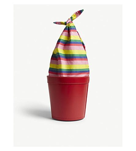 STAUD Britt leather and striped cotton bucket bag (Stripe+/+cherry+red