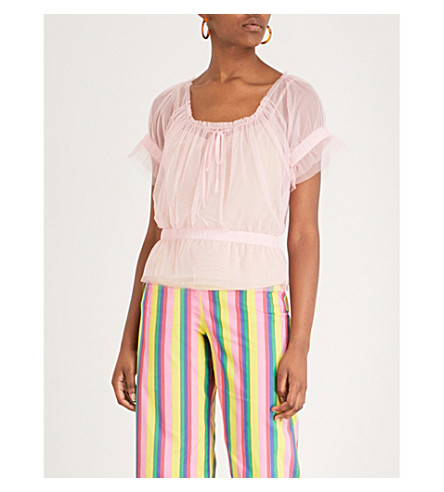 STAUD Sweeny gathered tulle top (Pink