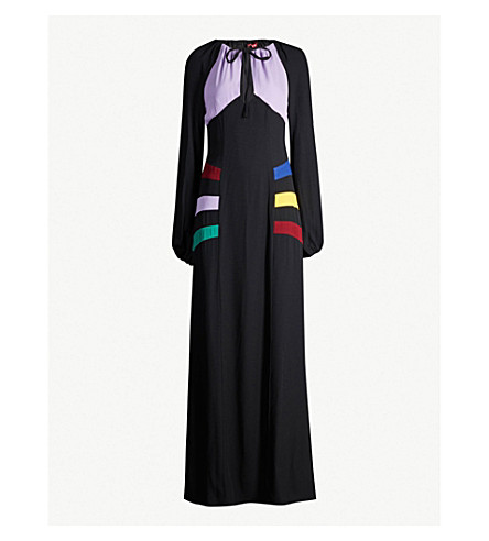 STAUD Pacha panelled tulle and crepe maxi dress (Blk/multi